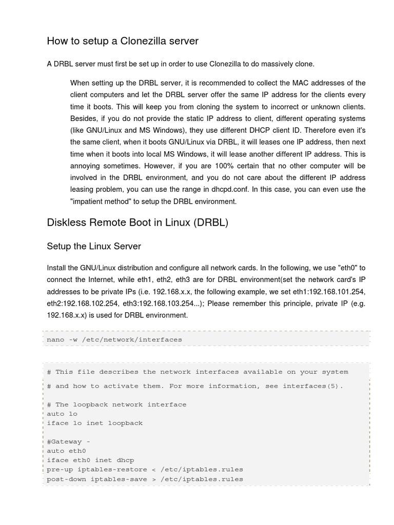 How to Setup a Clonezilla Server | Ip Address | Booting