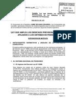 PL. 3531/2013-CR - Ley que amplía los derechos previsionales de los afiliados a los Sistemas de Pensiones