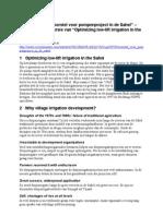 """PowerPoint """"Voorstel voor pompenproject in de Sahel"""""""
