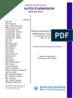 Modalités Admission Au Concours 2014 Sur Programme Des CPGE Scientifiques