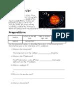 Spatial Order - Floorplan Worksheet