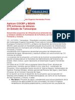 com0387, 091005 COCEF y BDAN aplican inversión a Tamaulipas.