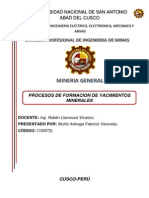 Procesos de Formacion de Yacimientos Minerales.