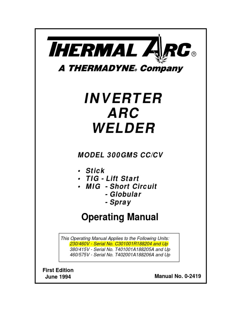 300 Gms Inverter Arc Welder Operators Manual 0 2419 Electrical Wiring Diagram Color Connector Welding