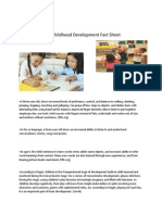early childhood development fact sheet  pdf