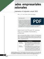 Actividades Empresariales y Profesionales. Calcule Correctamente El Impuesto Anual 2012