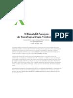 X Bienal Del Coloquio de Transformaciones Territoriales
