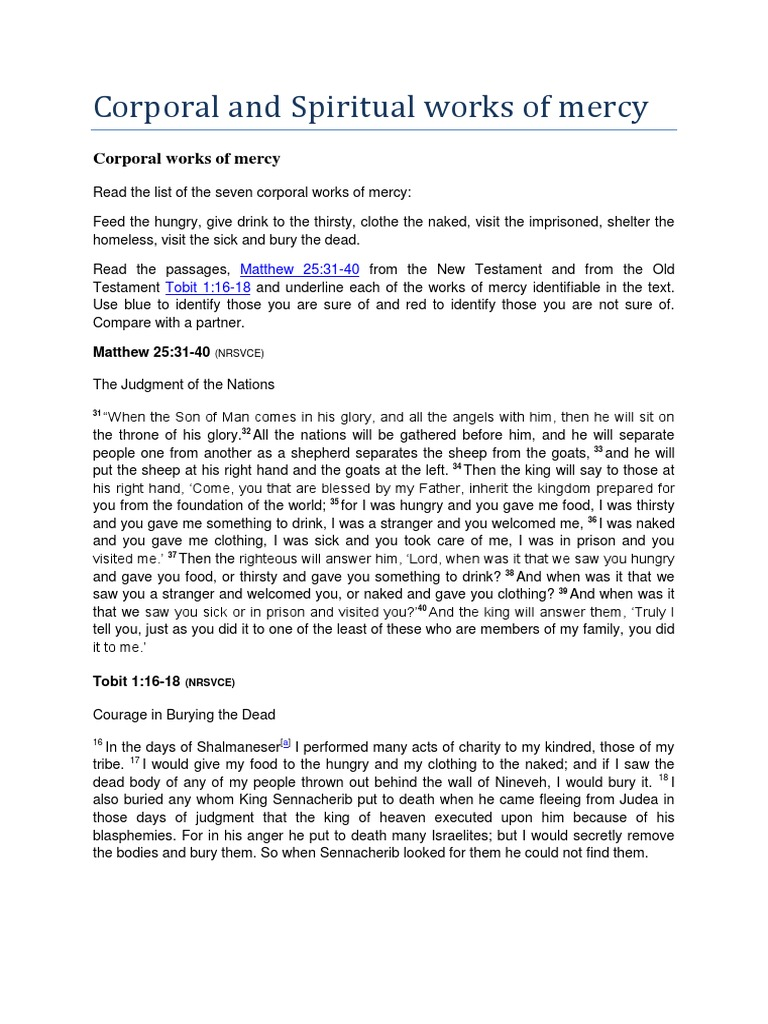 worksheet Corporal And Spiritual Works Of Mercy Worksheet corporal works of mercy last judgment theology