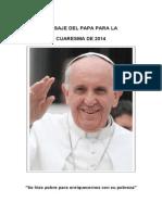 Mensaje Del Papa Cuaresma 2014