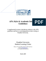 Franklin Apa and Plagiarism Policies