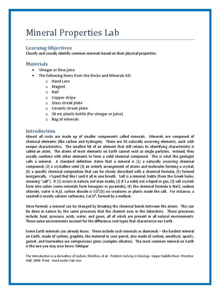 worksheet Minerals Worksheet worksheet properties of minerals thedanks for mineral lab chemical compounds