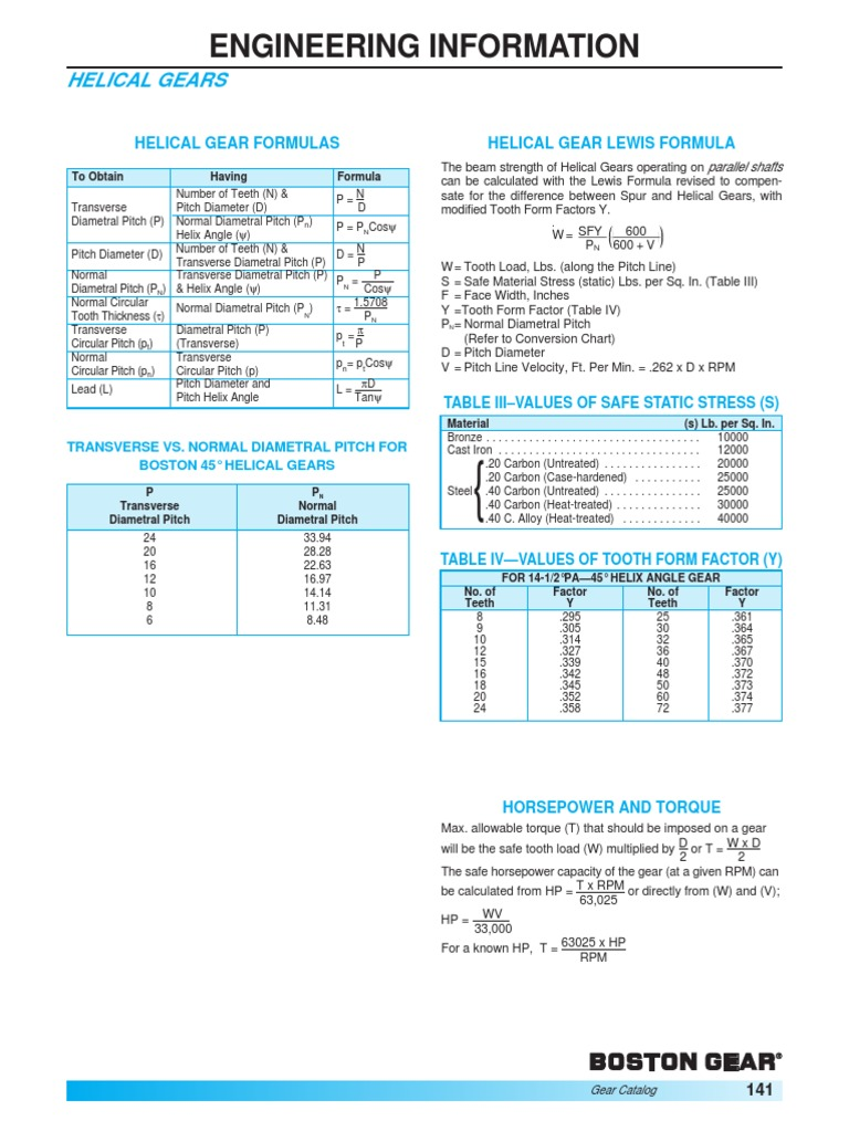 Helical Gears Formulas | Horsepower | Helix