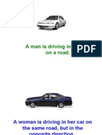 A Man is Driving in His Car on a Road.