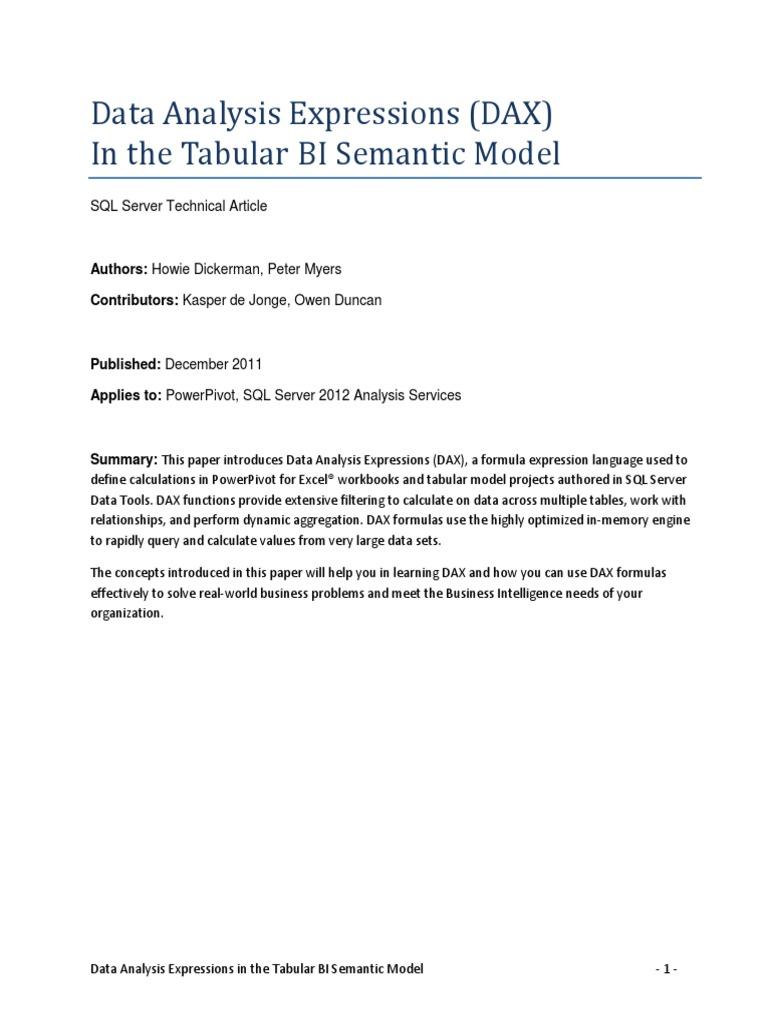 DAX in the BI Tabular Model | Microsoft Excel | Table (Database)