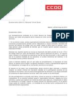 Carta Fiscalía General UGT CCOO