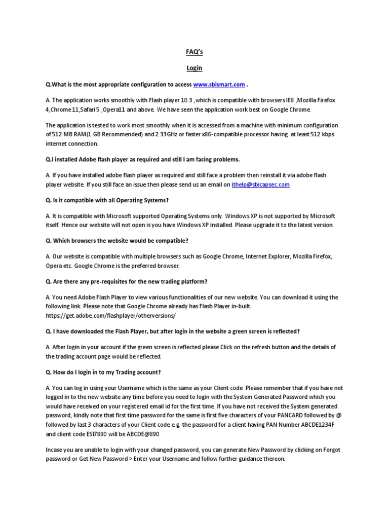 SBI Cap Smart Login FAQ | Google Chrome | Password