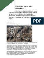 Millions Still Homeless a Year After Sichuan Earthquake