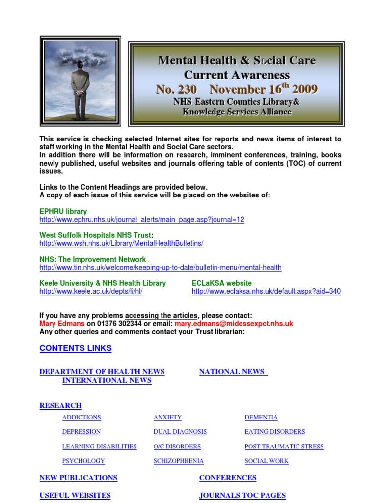 mental health bulletin no 230 november 16th 2009 psychiatry
