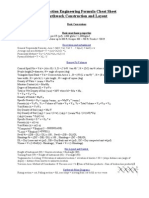 Construction Engineering Formula Cheat Sheet