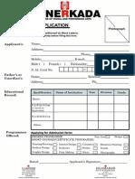 Admission Form Hunerkada