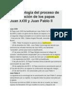 La Cronología Del Proceso de Canonización de Los Papas Juan XXIII y Juan Pablo II