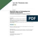 Dionysos Dans Le Protreptique de Clément d'Alexandrie. Initiations Dionysiaques Et Mystères Chrétiens (Fabienne Jourdan, RHR)