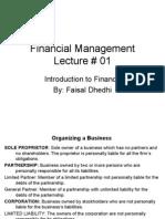 Financial Management Introduction Lecture#1