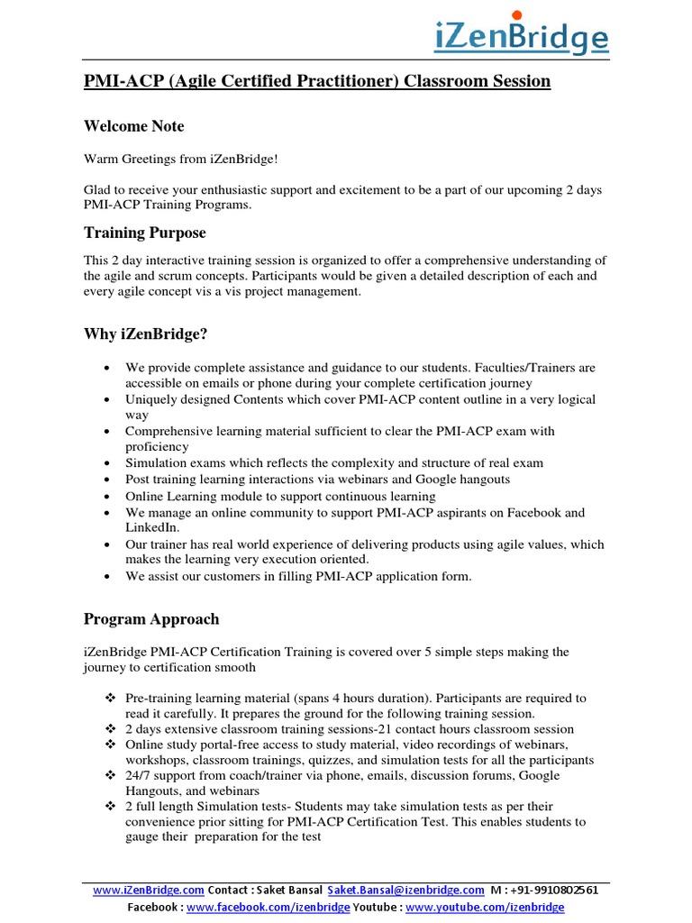 Izenbridge Pmi Acp Programpdf Agile Software Development Scrum