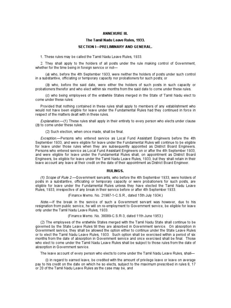 Tamil Nadu Leave Rules Leprosy Employment