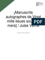 VERNE, Jules. Manuscrits Autographes de Vingt Mille Lieues Sous Les Mers