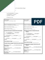 food label calorie work sheet
