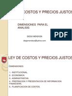 Ley de Costos y Precios Justos. Diego Mendoza