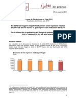 Encuesta de Condiciones de Vida (ECV) Resultados definitivos. Año 2013