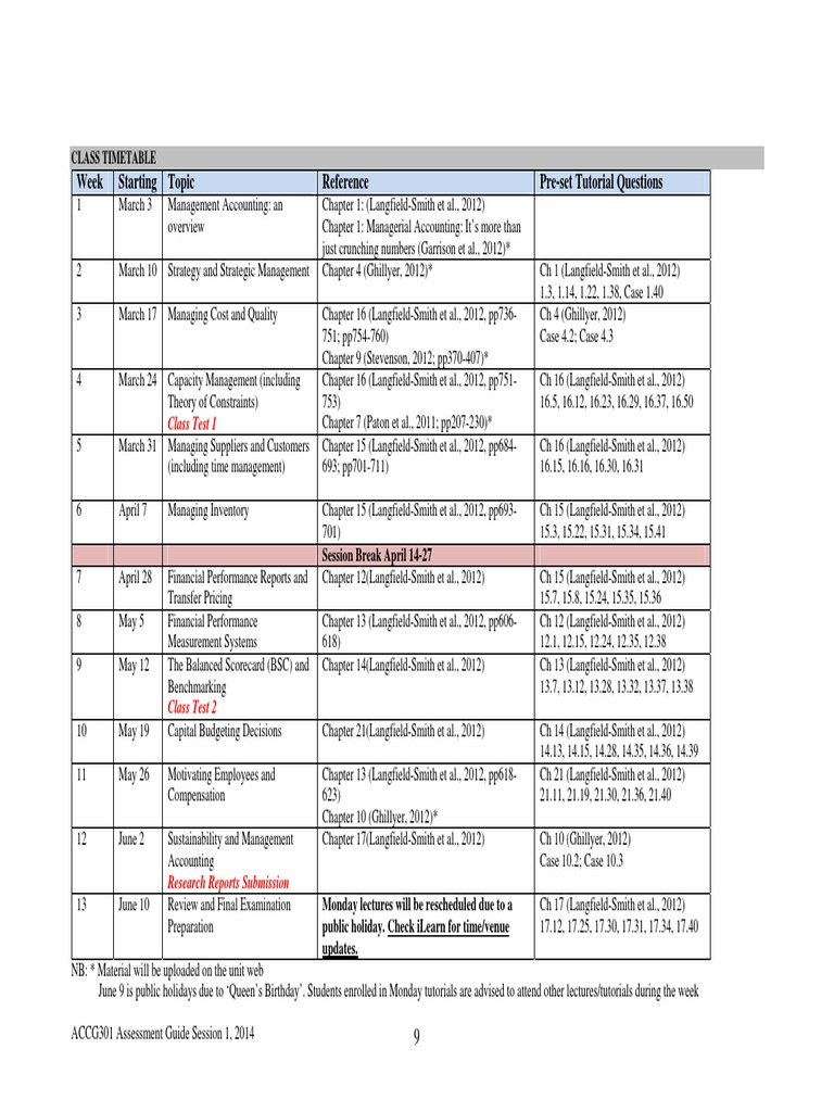 Pre-set Topics and Homework Questions | Contabilidade Gerencial