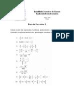 Cálculo 1 - Lista de Exercícios 2