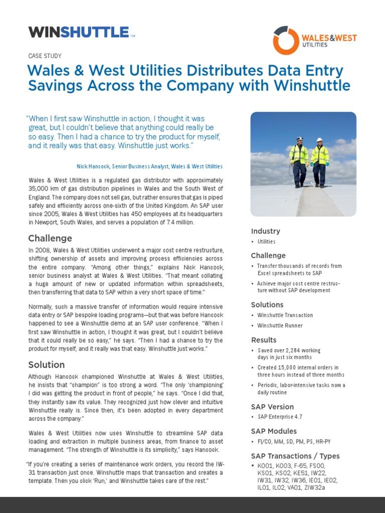 Winshuttle WalesWestUtilities Casestudy En   Technology (10