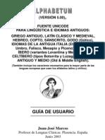 ALPHABETHUM: Fuente Unicode para lingüística e idiomas antiguos