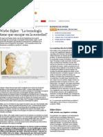 2009 10 15 - Ñ - Wiebe Bijker - La Tecnología Tiene Que Encajar en La Sociedad