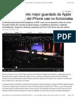 2013 10 07 - La Tercera - Revelan El Secreto Mejor Guardado de Apple- El Primer Demo Del iPhone Casi No Funcionaba