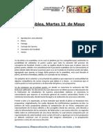 Acta Asamblea, Martes 13 de Mayo