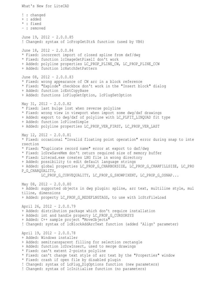 Litecad Changes | Auto Cad | Computer Programming