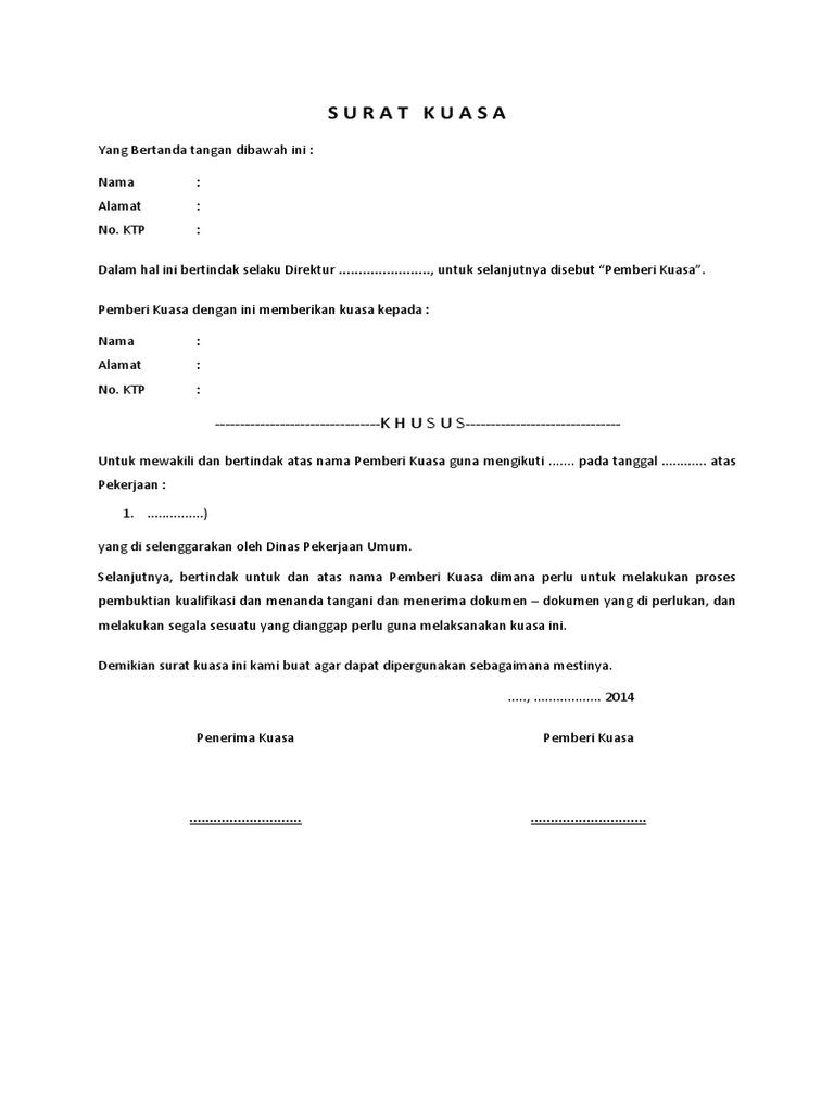 19++ Contoh surat kuasa umum pdf terbaru terbaru