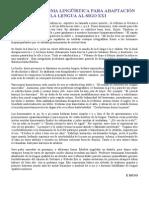Plan de Reforma Lingüística Para Adaptación de La Lengua Al Siglo XXI