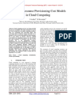 Exploring Resource Provisioning Cost Models in Cloud Computing