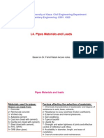 Lecture 4. Pipes Materials and Loads