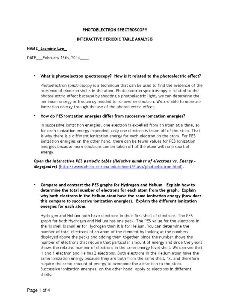 PESsheet Atomic Orbital – Ionization Energy Worksheet