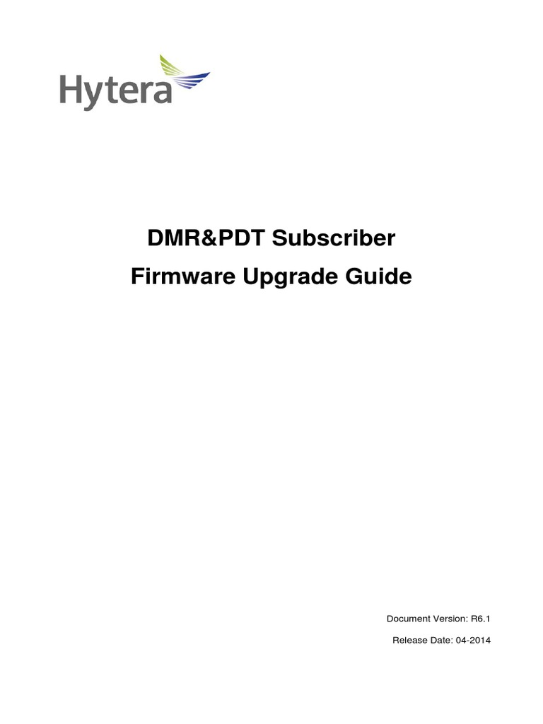 DMR&PDT Subscriber Firmware Hytera Upgrade Guide R6 1 | Trademark