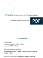 Epid 600 Class 1 Intro to Epidemiology