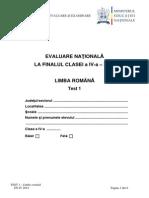 Subiecte Limba Romana_Test 1 Evaluarea Nationala Clasa a IV-A
