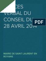 Procès Verbal du Conseil du 28 avril 2014